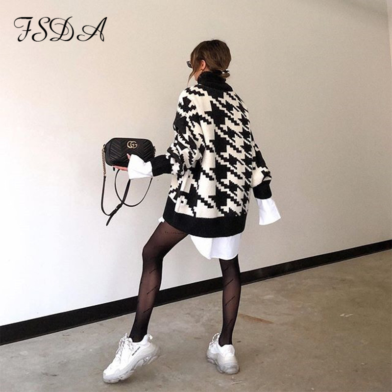 FSDA Long Sleeve Autumn Winter Oversized Sweater Dress Women Turtleneck Black Casual Knit Mini Houndstooth Sexy Party Dresses 2