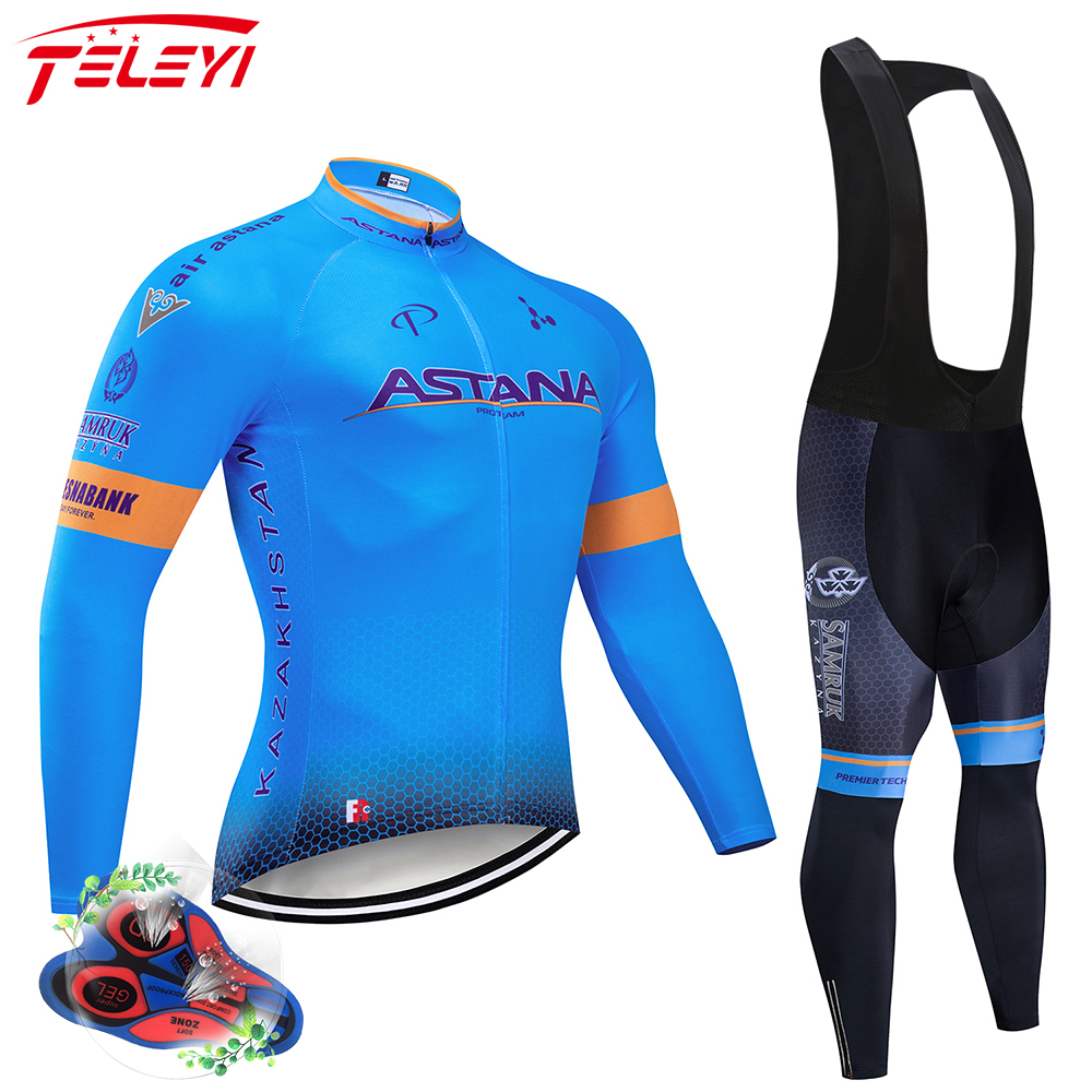 ASTANA 2019 Blue Team long sleeve Cycling jersey Set bib pants ropa ciclismo bicycle clothing MTB bike jersey Uniform Men clothe