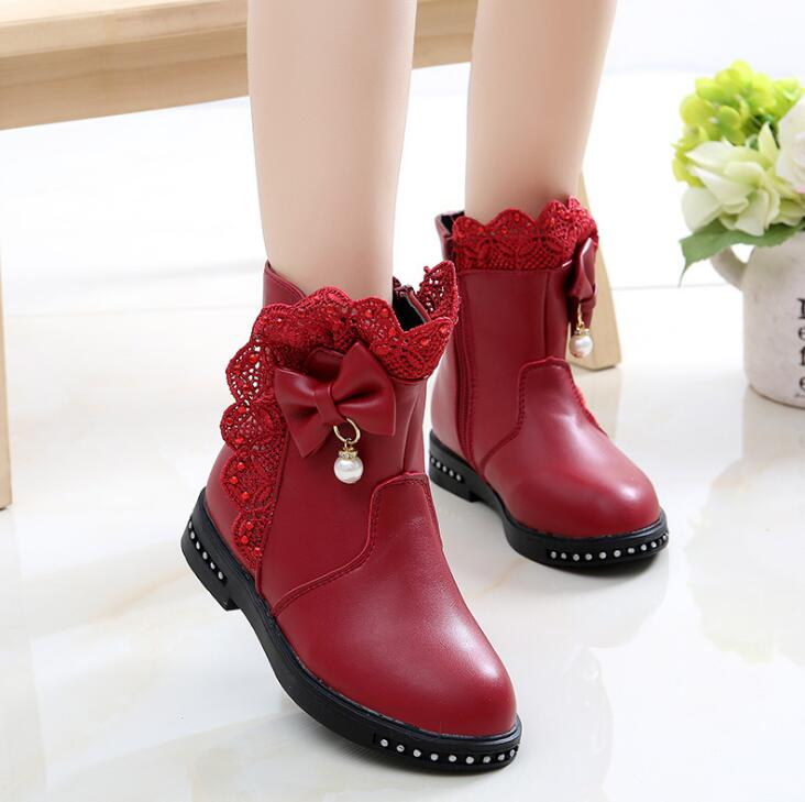 Girls Winter Boots With Bowtie Princess Fashion Boots Pu Leather Plus Velvet Warm Little Girl Shoes Kids Ankle Boots Soft Bottom