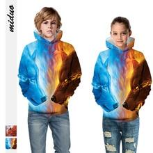 Teen Hoodie Wolf Sweatshirt Children Boys Winter And Autumn 3D Tops Hip-Hop Personality