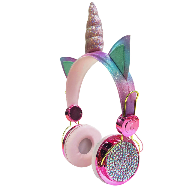 Cute Unicorn Wired Headphone With Microphone Girls Daugther Music Stereo Earphone Computer Mobile Phone Headset Kid Gift, or box 2