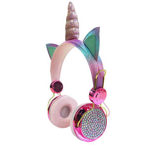 Image 2 - חמוד Unicorn Wired אוזניות עם מיקרופון בנות Daugther מוסיקה סטריאו אוזניות מחשב נייד טלפון גיימר אוזניות ילדי מתנה