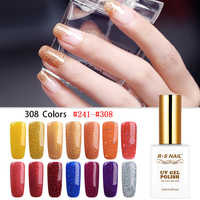 RS UNHAS de Gel Unha Polonês Glitter Gel Lak Esmalte Permanente Da Arte Do Prego do Salão de beleza 308 Cores um conjunto de gel verniz manicure francês 15ml
