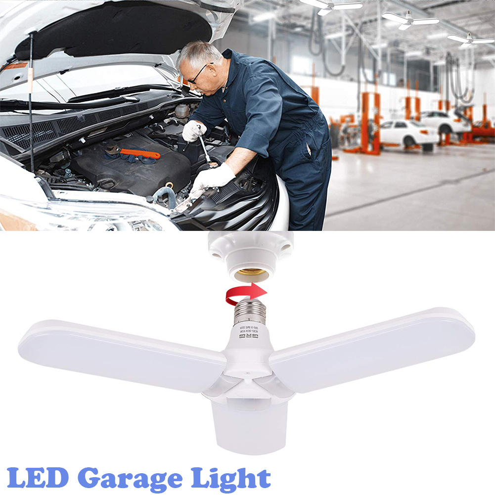 LED Garage Light,Deformable Garage Ceiling Light 45W LED Garage Ceiling Light 6500K White Light Deformable Foldable E27 Lighting