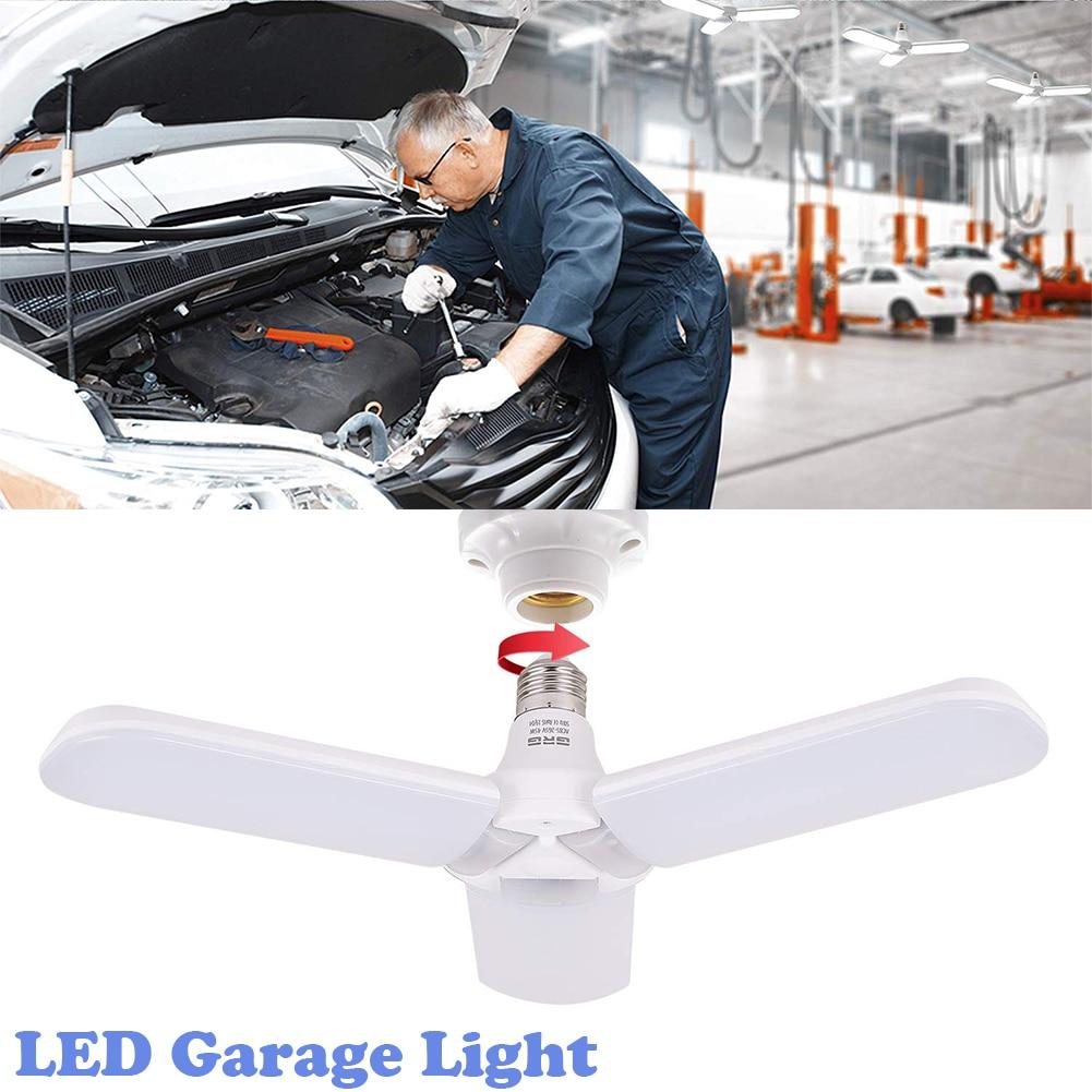 LED Garage Light,Deformable Garage Ceiling Light 45W LED Garage Ceiling Light 6500K White Light Deformable Foldable E27 Lighting