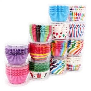 100 шт./лот радужные бумажные вкладыши для кексов, футляры для кексов, поднос для выпечки, кухонные вечерние аксессуары для свадьбы, дня рожде...