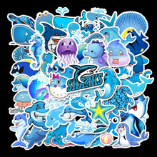 49 Pcs Blue Marine Life Papelaria kawaii Ocean Cartoon Animals Seahorse Shark Dolphins Stationery Sticker Waterproof TZ076G