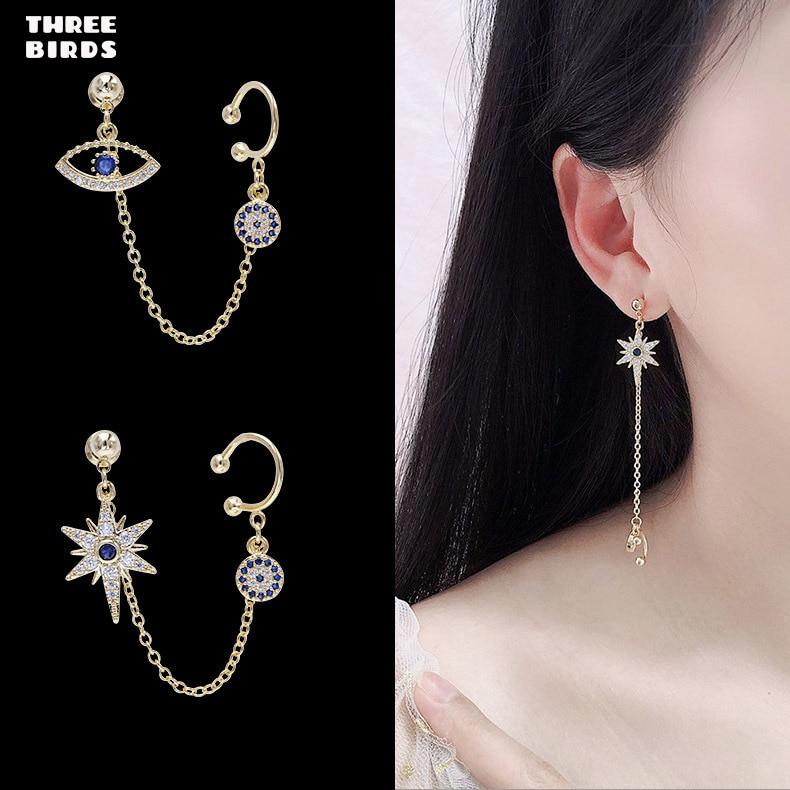 Tendance bleu oeil boucles d'oreilles de luxe marque Design argent cristal boucles d'oreilles pour femmes mode bijoux boucle d'oreille femme 2019