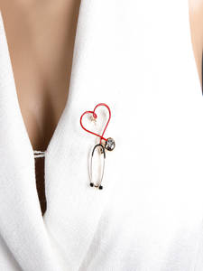 Blucome Brooches Badge Pins Collar Clip Stethoscope Doctor Christmas-Gift Copper Heart