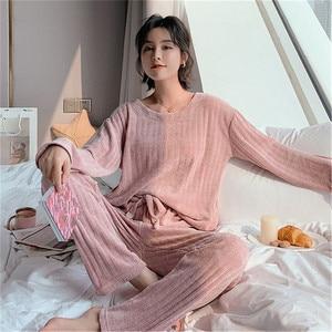 Image 1 - JULYS أغنية امرأة الشتاء الفانيلا منامة مجموعات 2 قطعة منامة الدافئة سميكة ملابس خاصة امرأة عارضة Homewear