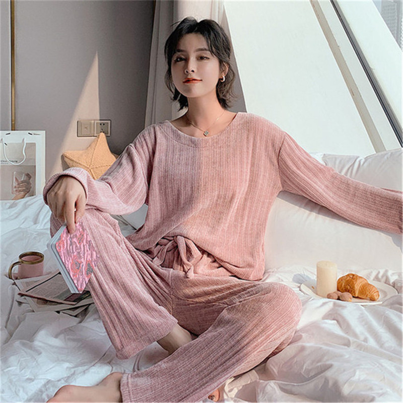 JULY'S SONG Woman Winter Flannel Pajamas Sets 2 Pieces Warm Pajamas Thick  Sleepwear Woman Casual Homewear