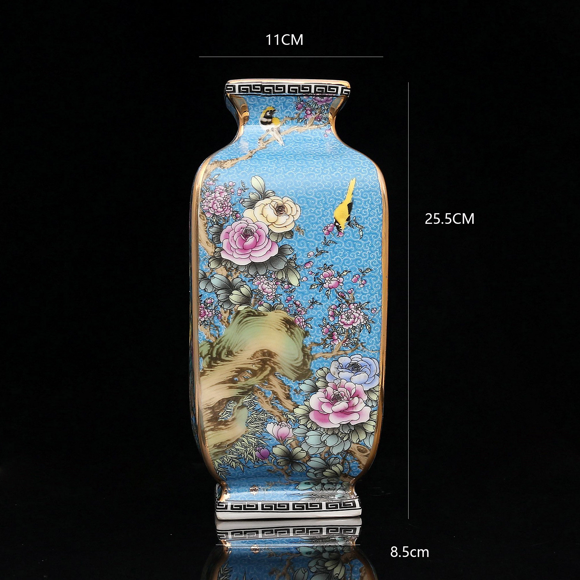 Golden Enamel Bird Blossom Flower Vase - Home & Garden