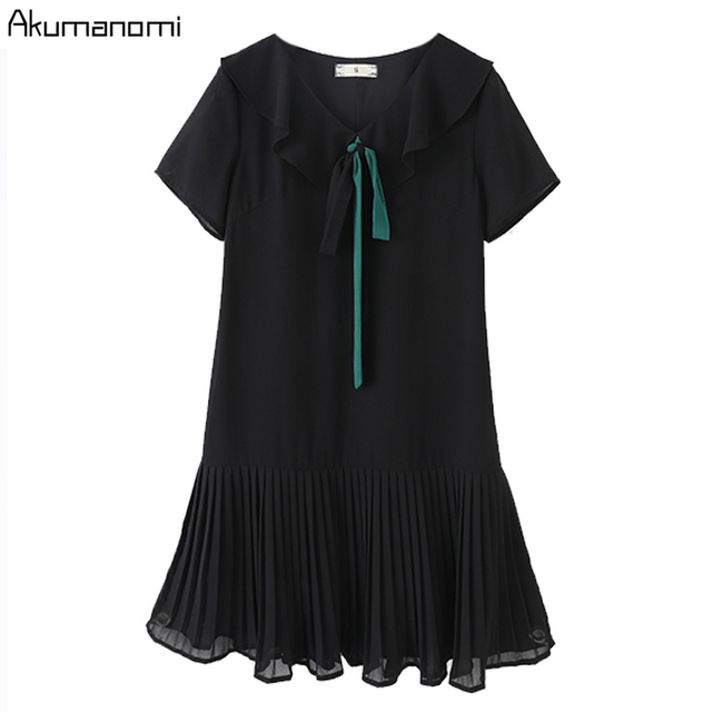 2020 Summer Women Chiffon Draped Dresses Vintage Plus Size Women Clothes 6xl 5xl 4xxxl Casual Office Ladies Black Collar Dress
