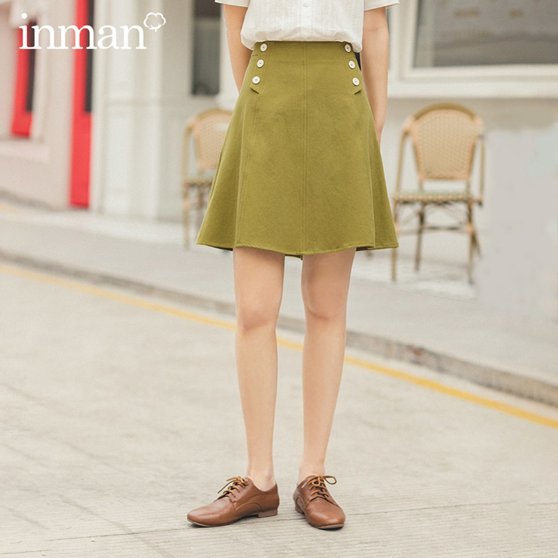 INMAN 2020 Summer New Arrival Cotton Double Button Shaped A Line Skirt