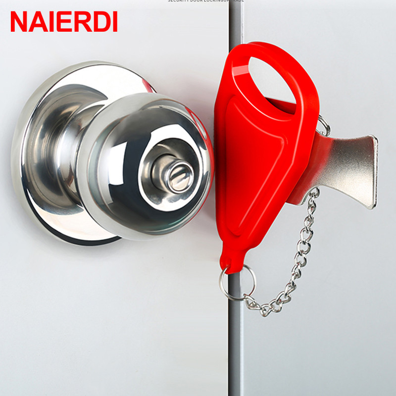 NAIERDI Portable Hotel Door Lock Travel Lock Childproof Door Lock Anti-theft Lock For Security Home Safety Lock Door Hardware