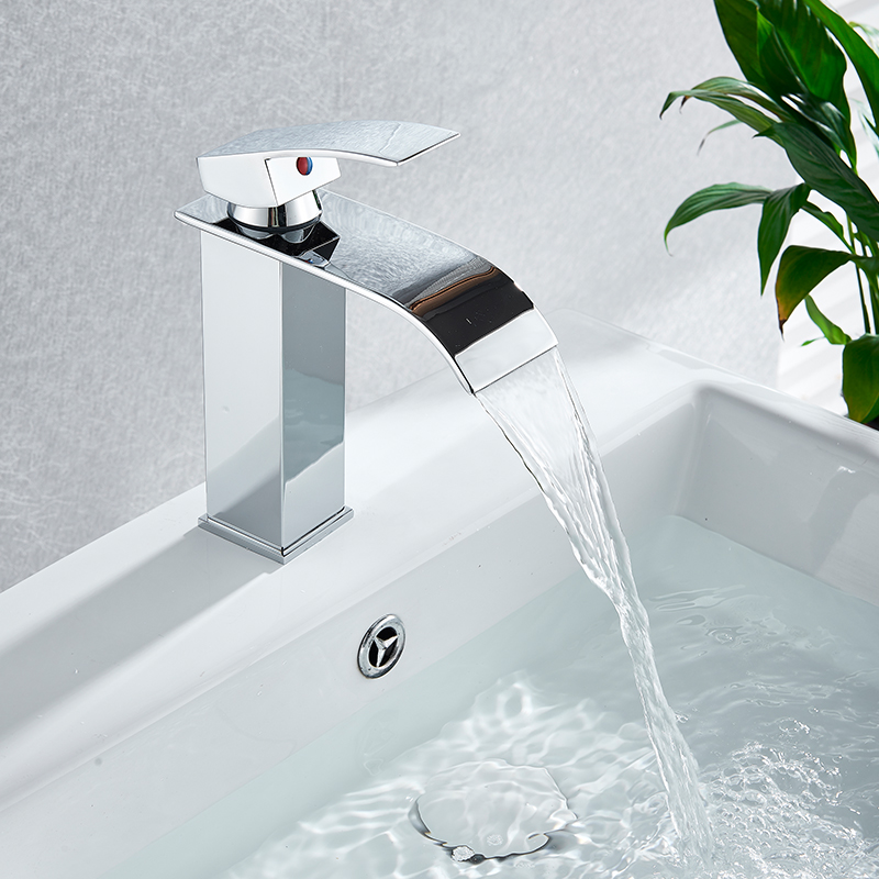 Hfe4dfe5ed4114768af19f88b95469bf2v Rozin Hot cold basin faucet Waterfall Bathroom Vanity Sink Faucet Single Lever Chrome Brass Hot and cold Basin Washing Taps