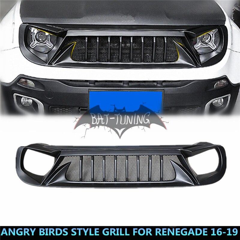 Nero Angry Uccello Stile Griglia Per Jeep Renegade 2016-2019 Aggiornamento Aria di Aspirazione Per Lo Styling ABS Griglia Del Paraurti Anteriore Protector