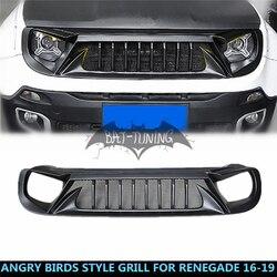 Schwarz Wütend Vogel Stil Grill Für Jeep Renegade 2016-2019 Upgrade Air Intake Styling ABS Grille Frontschürze Schutz