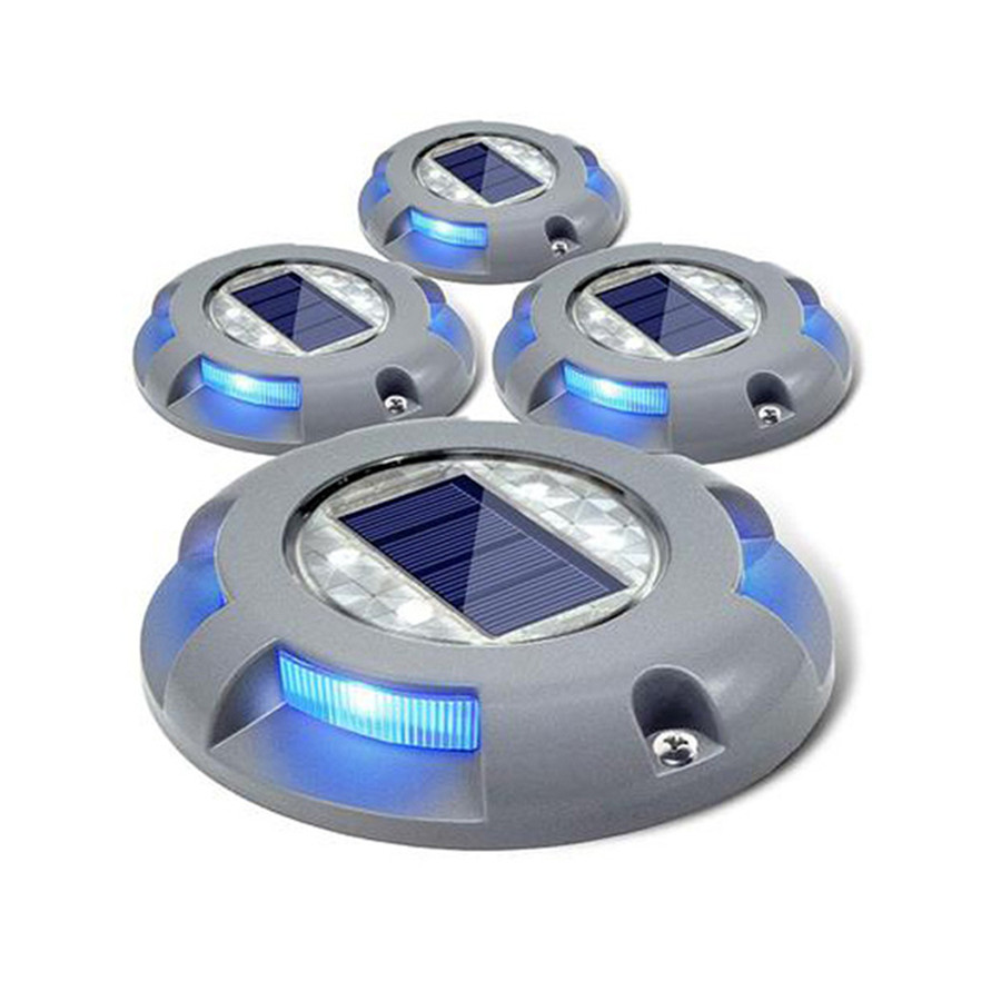 Thrisdar 4LED Outdoor Garden Pathway Solar Buried Light Under Ground Lamp Landscape Lawn Solar Road Stud Marker Light
