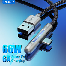ROCK 66W USB Type C Cable For Samsung Xiaomi Mi Zinc Alloy Elbow 90 Degree 6A Luminous Fast Charging USB Type-C Data Wire Cord