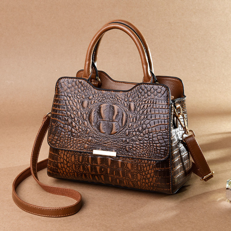 Vintage Fashion Crocodile Genuine Leather Luxury Ladies Handbags Women Bags Designer Woman Shoulder Bag Female Bolsas Feminina