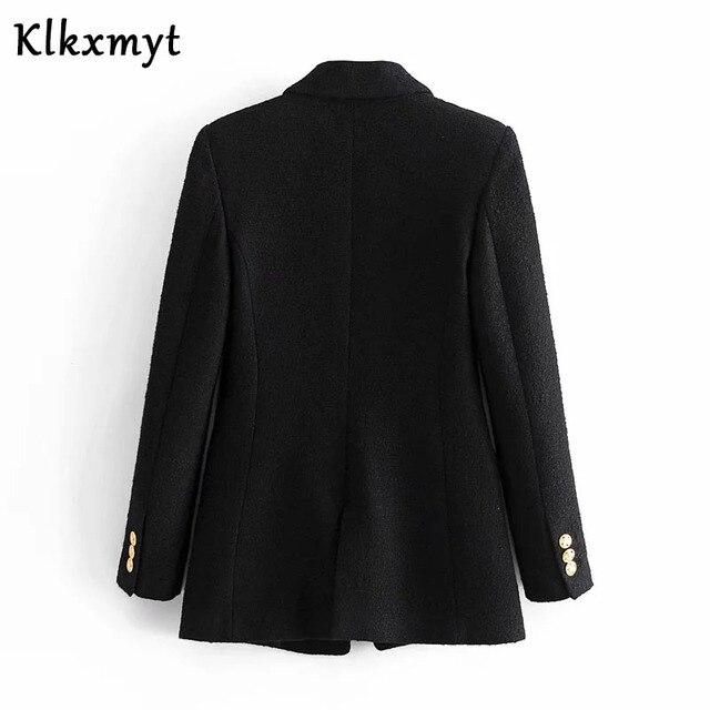 Klkxmyt Za Blazer Women 2020 Fashion Metal Double Breasted Woollen Blazers Coat Vintage Long Sleeve Female Outerwear Chic Tops 4