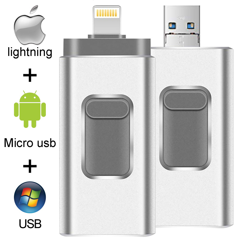 Dropshipping USB Flash Drive For <font><b>iPhone</b></font> X/8/7/7 Plus/6/<font><b>6s</b></font>/5 ipad <font><b>16GB</b></font> 32GB 64GB 128GB Metal OTG Pendrive HD Memory Stick image
