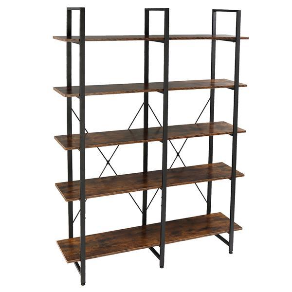 Double Wide Industrial 5-Tier Open Bookcase Shelves 1