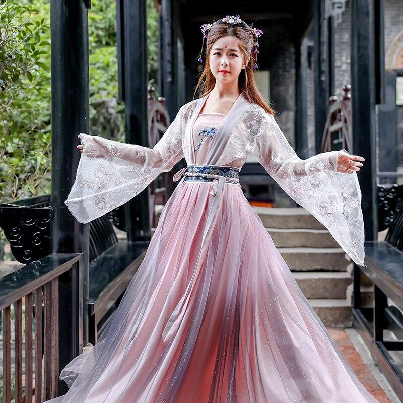 Embroidery Hanfu Women Classical Dance Costume Fairy Dress Singer Festival Outfit Rave Performance Clothes 3 Pcs Set DF1338