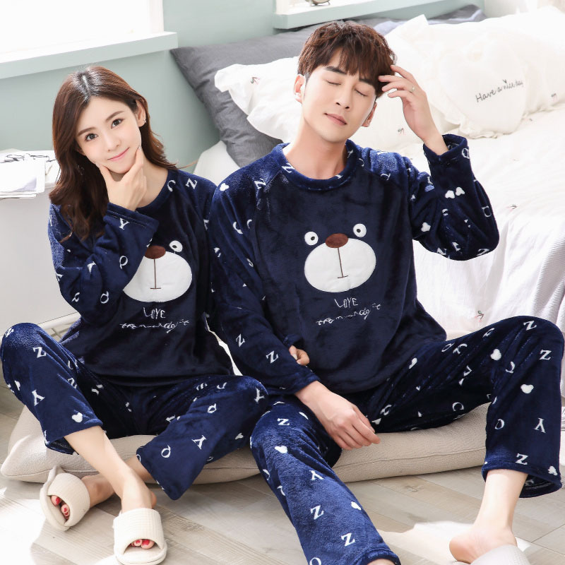 Mens Sexy Sleepwear Qiu Dong Season Han Edition Cute Cartoon Lovers Pajamas Women Long Sleeve Coral Leisurewear Suit For Men