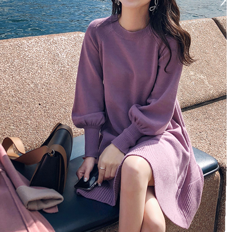 New Spring Korea Dress Women Knitting Oversize Autumn Midi Dress Lantern sleeve Fashion Sweater Dresses 30