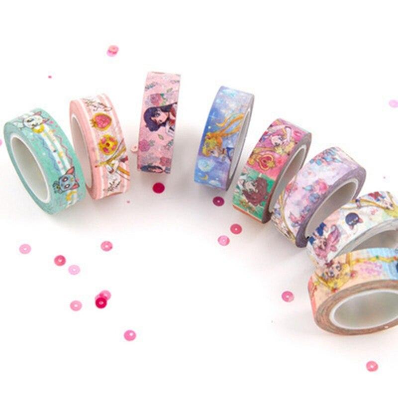 Cartoon Sailor Moon Girl Cat Washi Paper Tape Adhesive Tape DIY Scrapbooking Sticker Label Masking Tape