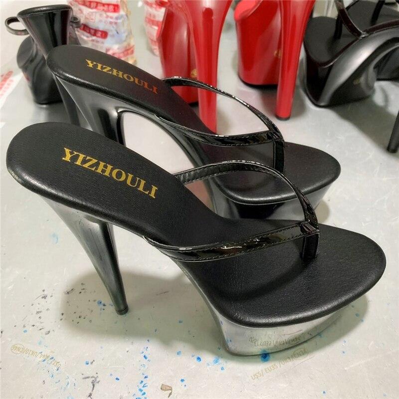 Stylish 15cm High Princess Flip-flops, Sexy Nightclub High Heel PU Material Steel Pole Dancing Shoes