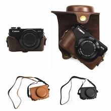 Housse de étui rigide rétro en cuir pour appareil photo pour Canon Powershot G7 X G7X Mark II III ( G7XII G7XIII ) mark2 mark3 G7X2 G7X3