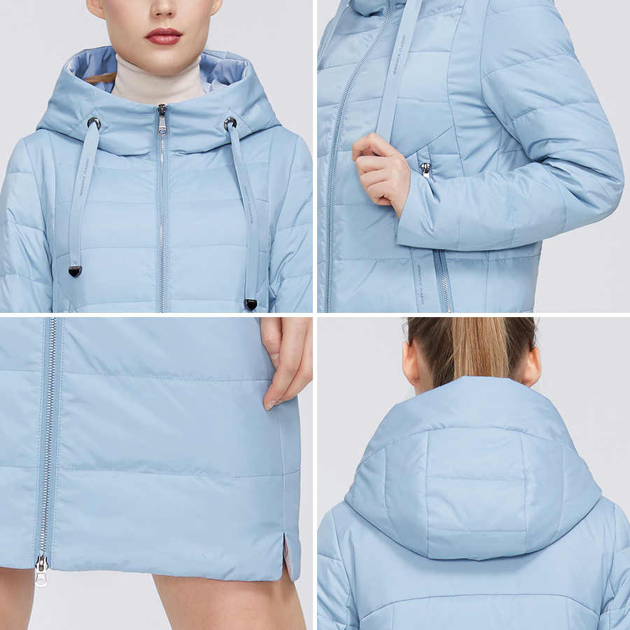 MIEGOFCE 2020 디자이너 봄 컬렉션 여성 자켓 지퍼와 중간 무릎 길이 내성 칼라 후드 여성 코트