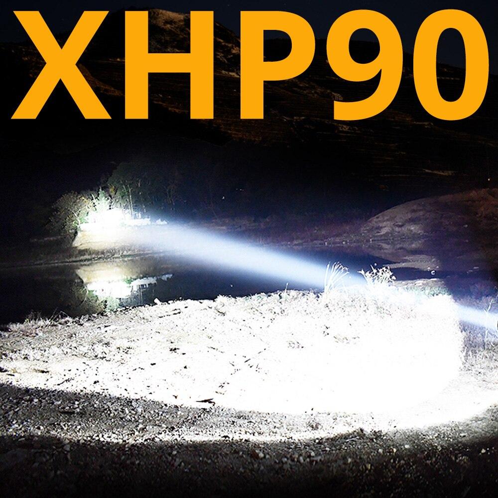 Le plus lumineux XHP70.2 XHP90 Rechargeable lampe de poche LED puissant torche Super étanche Zoom chasse lumière utilisation 18650 ou 26650 Battey
