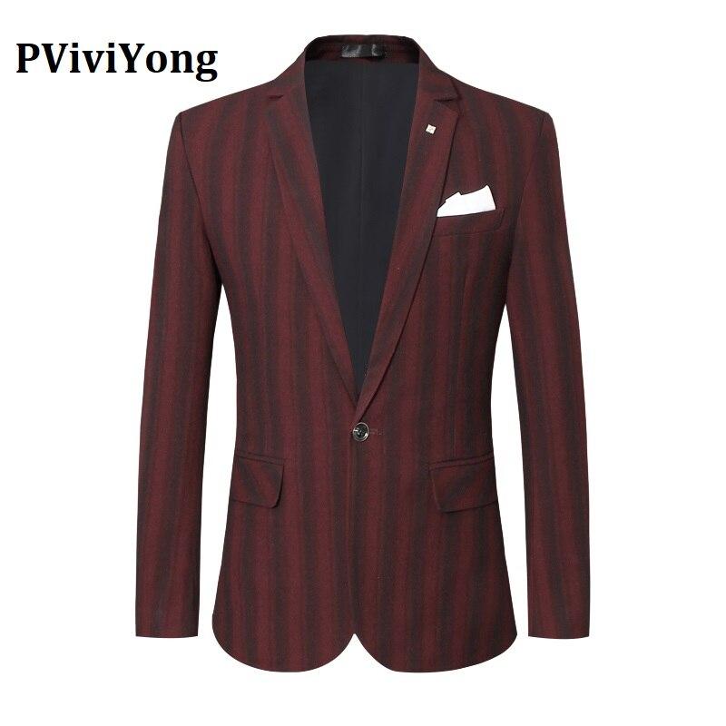 PViviYong Brand 2019 High Quality Men's Suit Top,suit Jacket Men Slim Stripe Business Suit Blazer Men Coat Plus-size S-5XL X95