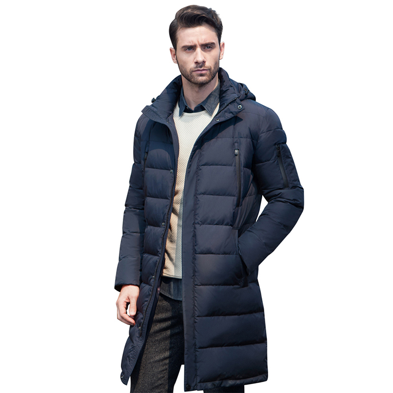 Фото - ICEbear 2019 New Men's Clothing Winter Jacket Long Coats with Hood for Leisure High-quality Parka Men Clothes Jacket 16M298D vogue pu leather embellished stand collar long sleeves ombre denim jacket for men