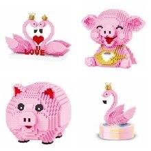 цена на DIY 16117 16125  16103 16104 Pink Pig Bank Money Box 3D Model 1030pcs Diamond Mini Building Blocks Assembly Children's toy gift