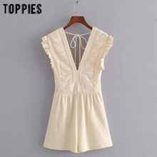 summer lace embroidery jumpers women sleeveless rompers sexy