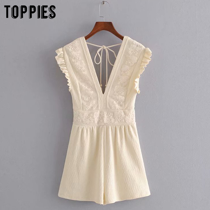 Summer Lace Embroidery Jumpers Women Sleeveless Rompers Sexy V-neck Holidays Playsuits