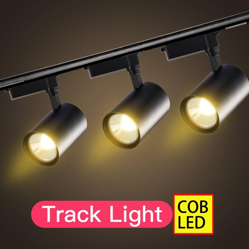Lámpara Led de pista Cob para focos Led 220V 12W 20W 30W 40W luz en riel rastreador lámpara de pared accesorio de iluminación para tienda de casa