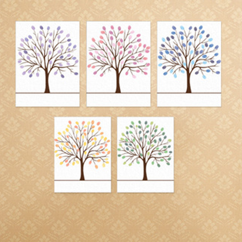 New Creative Personalized Canvas Fingerprint Painting Wedding Tree Guest Book  Wedding Gifts DIY Birthday Party Decorations Hot