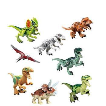 цена на 8pcs  Jurassic World 2 Dinosaurs Figures Tyrannosaurus Rex Building Blocks Dinosaur Bricks Toys Model Compatible with