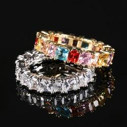 Kinel luksusowy Boho pierścień tęczy dla kobiet złoty kolor srebrny bagietka cyrkonia ślub zaręczyny wieczność pierścienie