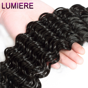 Image 4 - Lumiere Hair Deep Wave Bundles With Frontal Brazilian Hair Weave 3 Bundles With 13x4 Lace Frontal Remy 100% Human Hair Color 1B