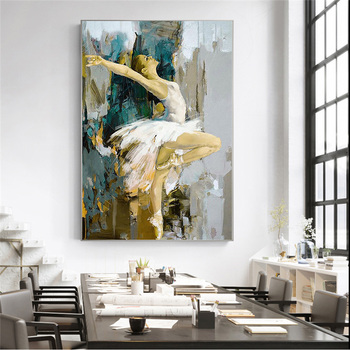 Elegant Dancing Ballerina Abstract Oil Painting Printed on Canvas 2