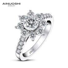 AINOUSHI 0.8 カラットの結婚指輪 Sona ラウンドカットひまわりリング 925 スターリングシルバーリング女性の婚約ジュエリー記念ギフト