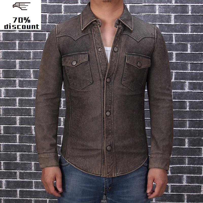 2020 Vintage Brown Men Slim Fit American Casual Style Leather Shirt Large Size XXXL Genuine Thin Sheepskin Aturmn Men Shirt Coat