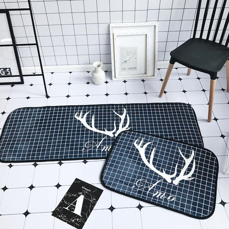 Doormat Kitchen Carpet Anti-Slip Waterproof Nordic Style <font><b>Deer</b></font> Unicorn Polyester Rubber Bottom <font><b>Bathroom</b></font> Christmas Dustproof <font><b>Mats</b></font> image